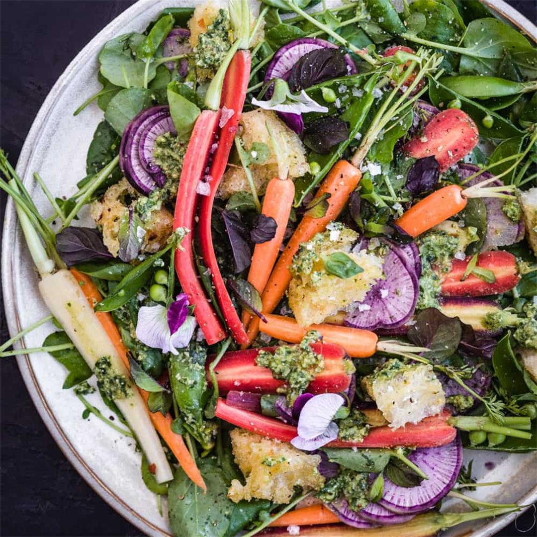 Spring Pea and Carrot Salad with Carrot Top Pesto