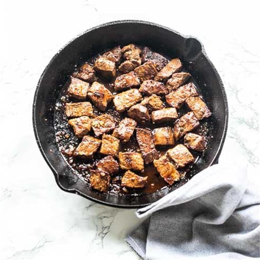 Steak bites with Cajun seasoning