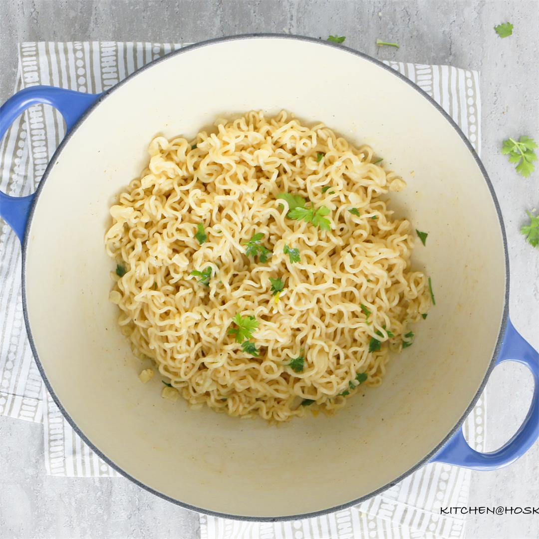 Crazy Good Garlic butter Ramen Noodles