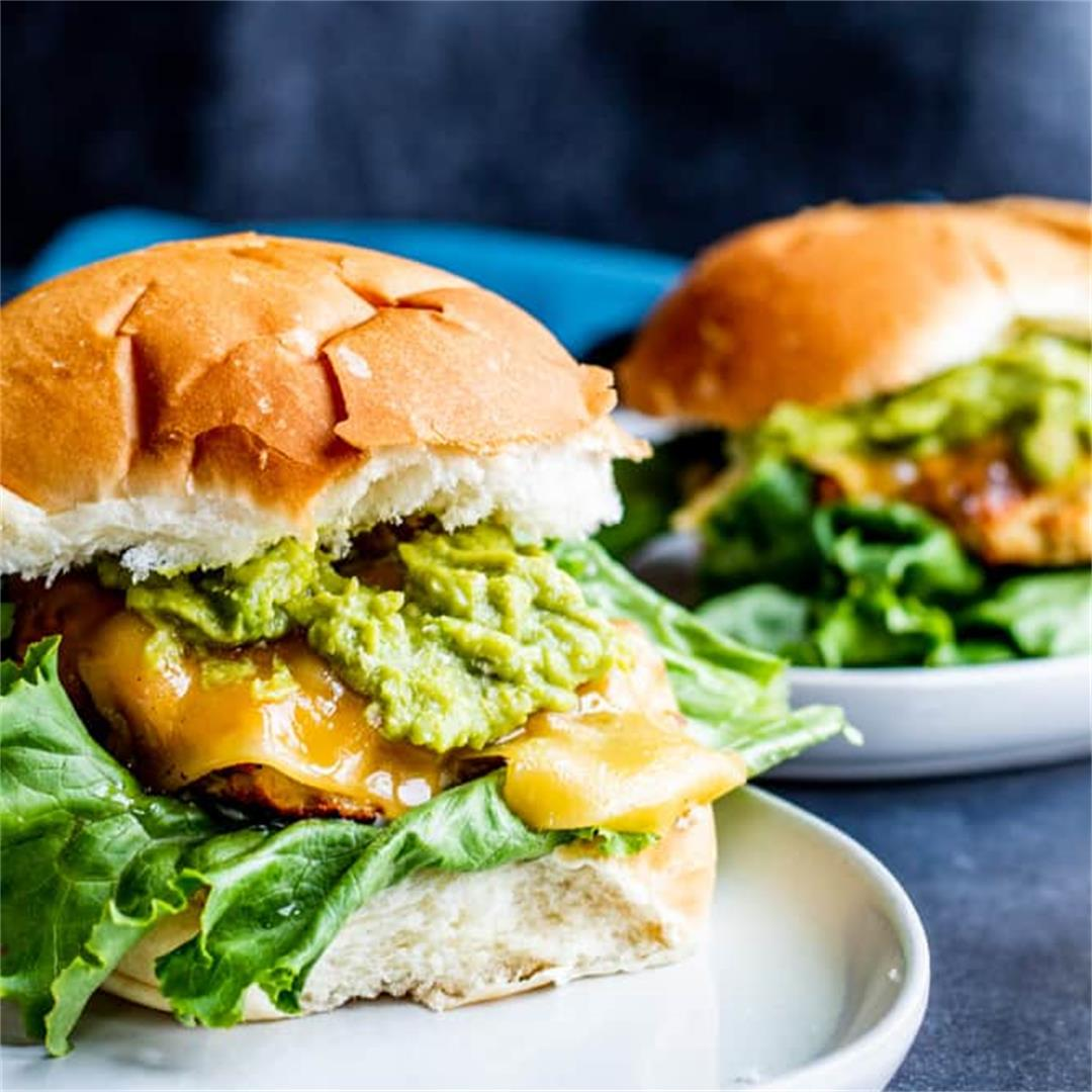 Grilled Chicken Burgers with Guacamole and Garlic Aioli