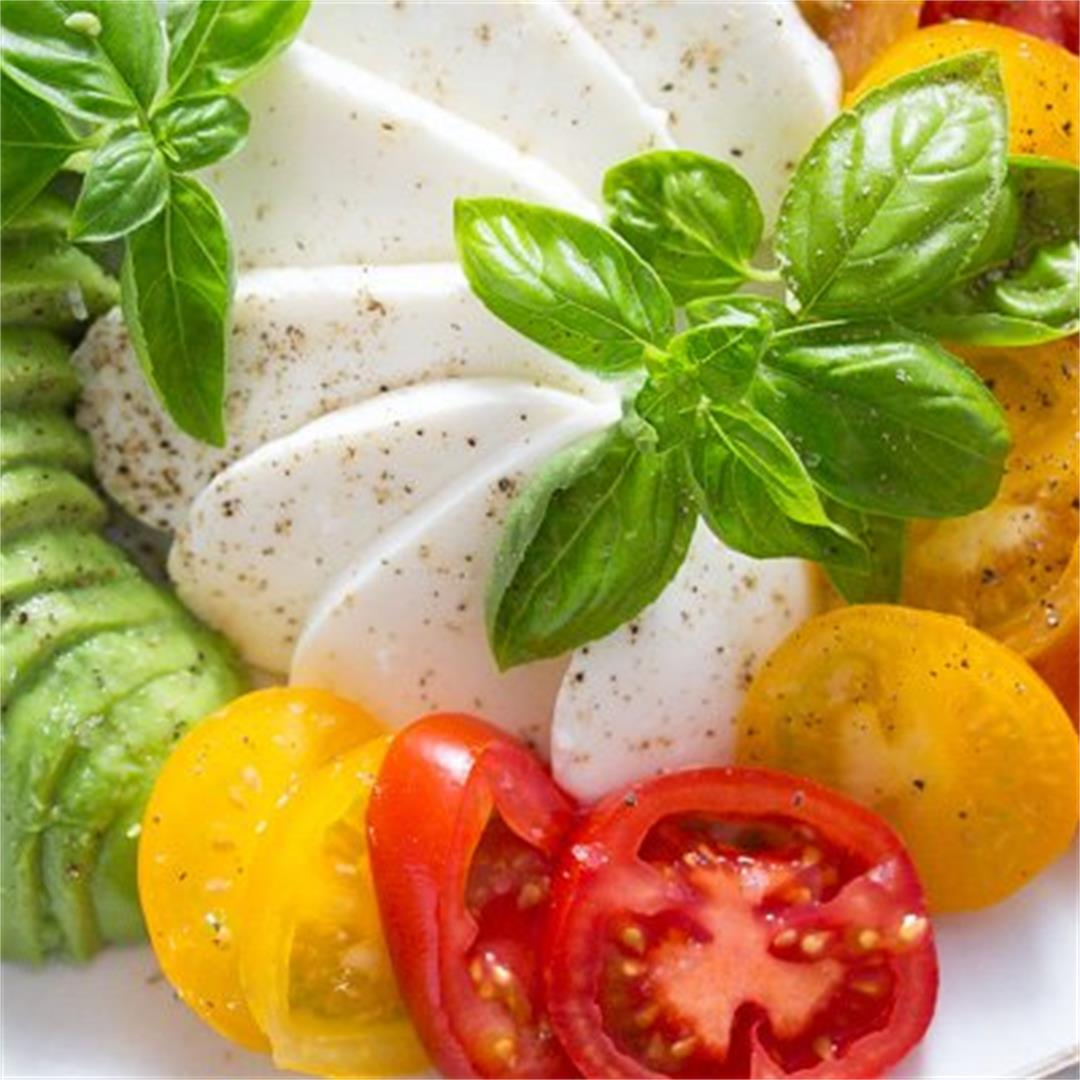 Tomato Avocado Mozzarella Salad with Basil