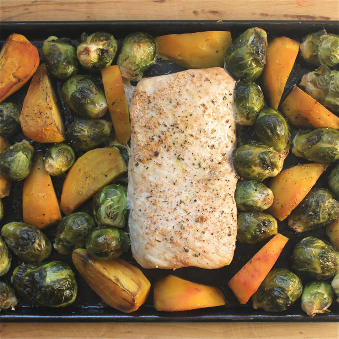 Sheet Pan Roast Pork with Balsamic Brussels sprouts and Beets