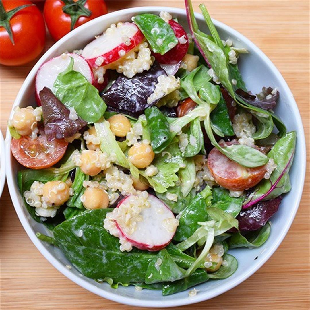 Mixed Greens Quinoa Salad with Roasted Tofu