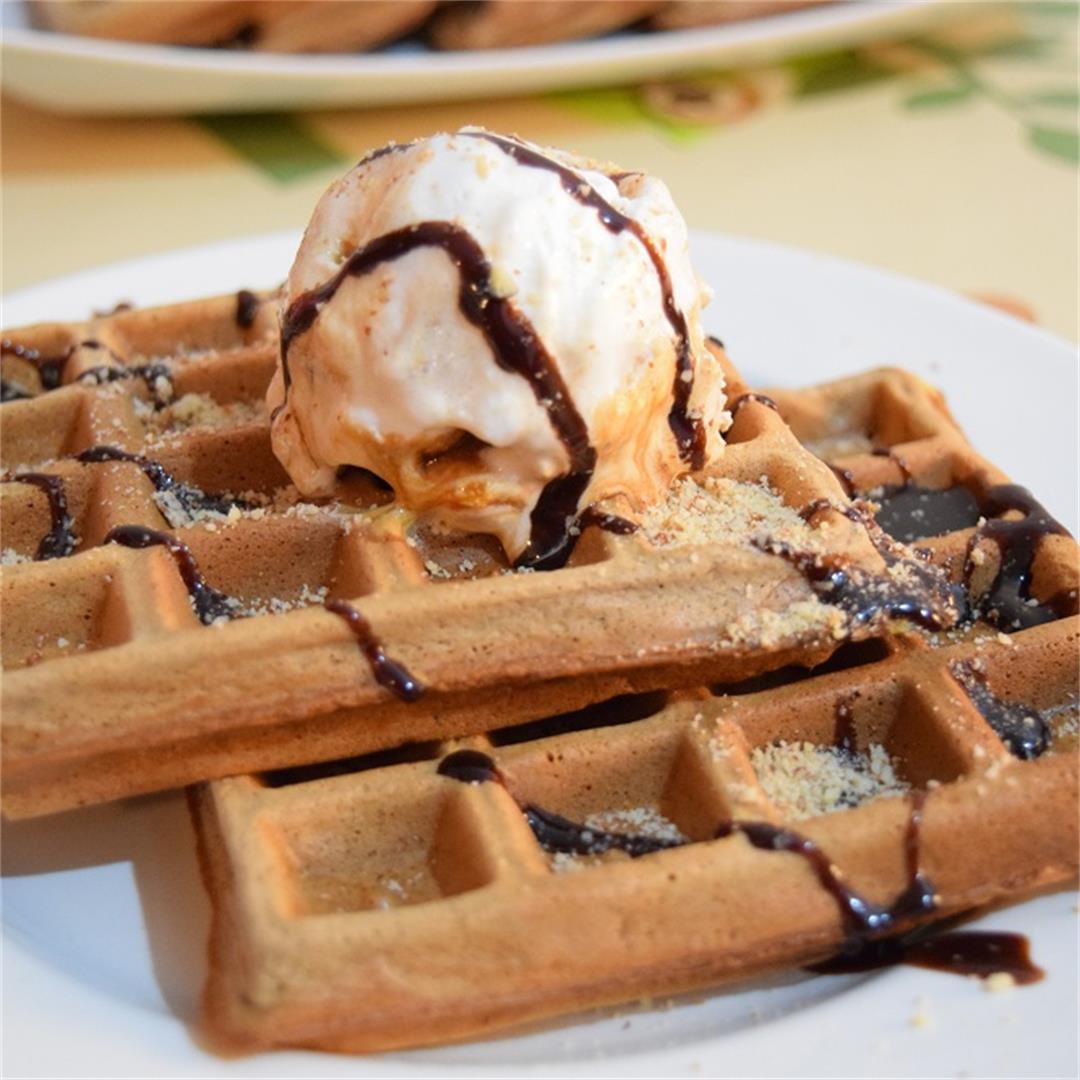 Chocolate Belgian Ice Cream Waffles