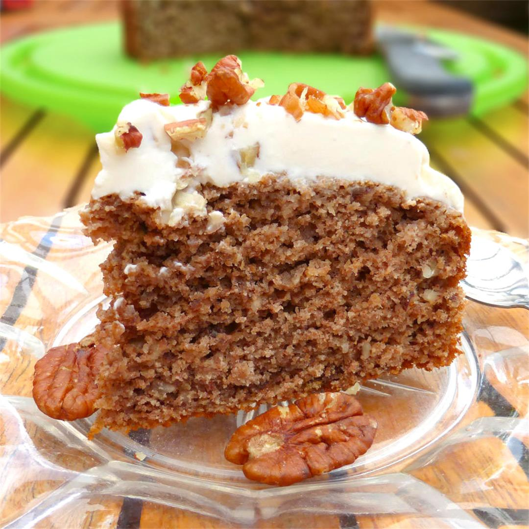 Pecan Pineapple Spelt Cake with Pineapple Cream Cheese Frosting