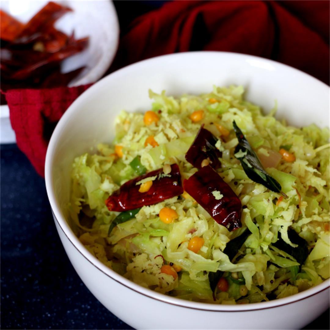 Cabbage Poriyal/ thoran-Vegan & Gluten-free