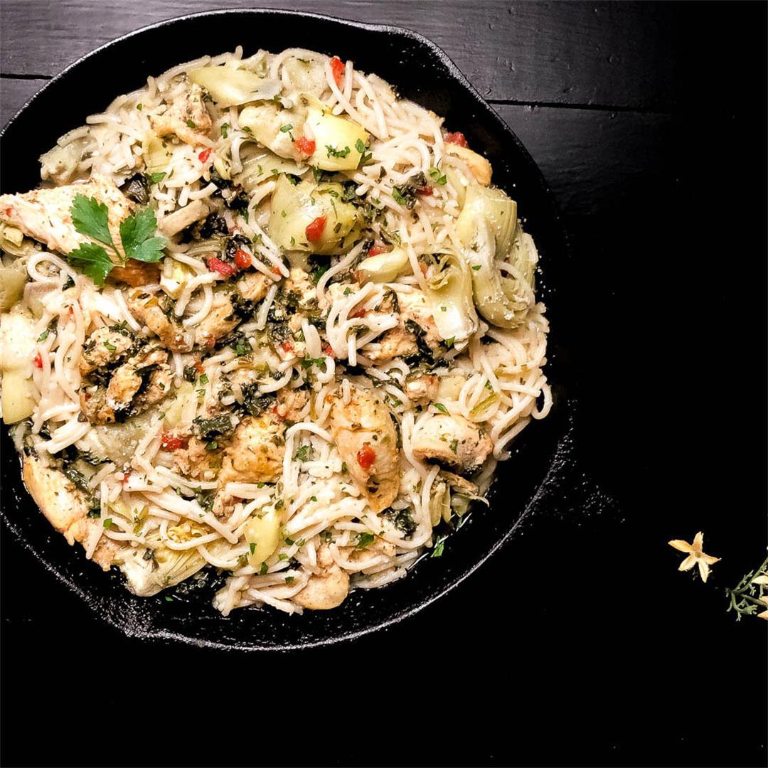 Gluten Free Artichoke Chicken and Spinach Pasta