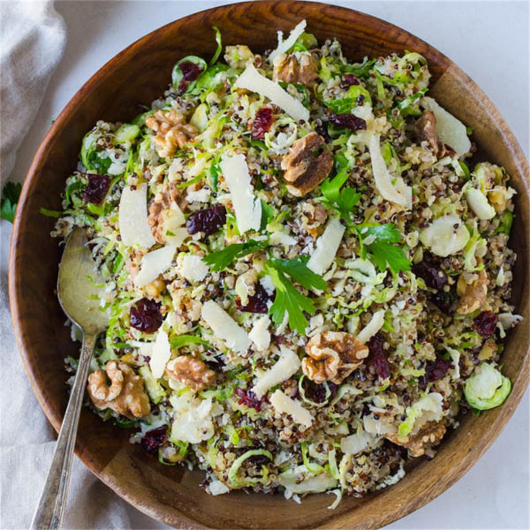 Shaved Raw Brussels Sprouts Cranberry Quinoa Salad