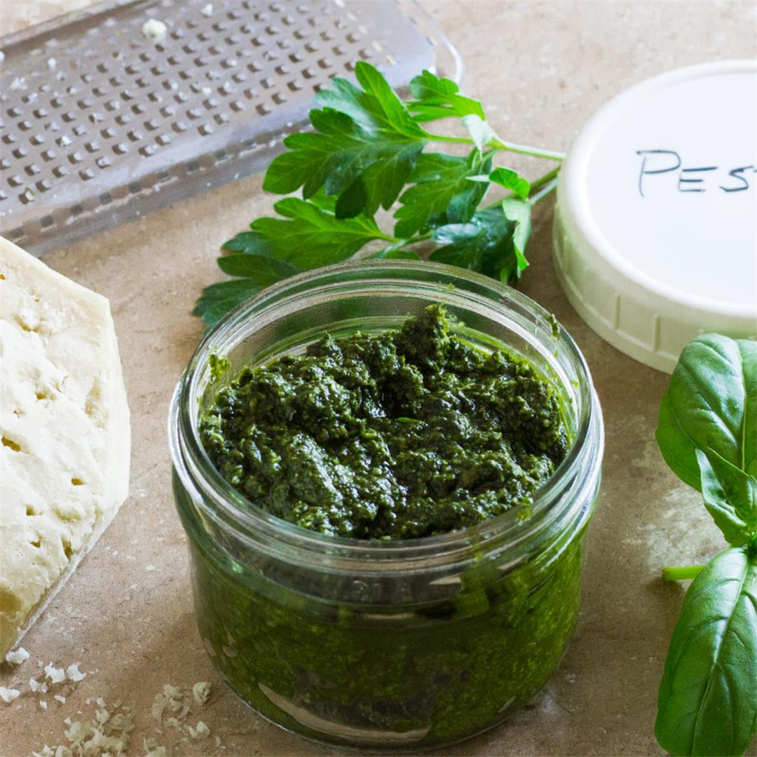 The Best Fresh Basil Pesto uses walnuts in place of pine nuts.
