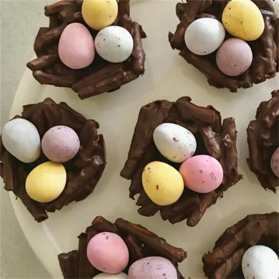 Chocolate Pretzel Easter Nests
