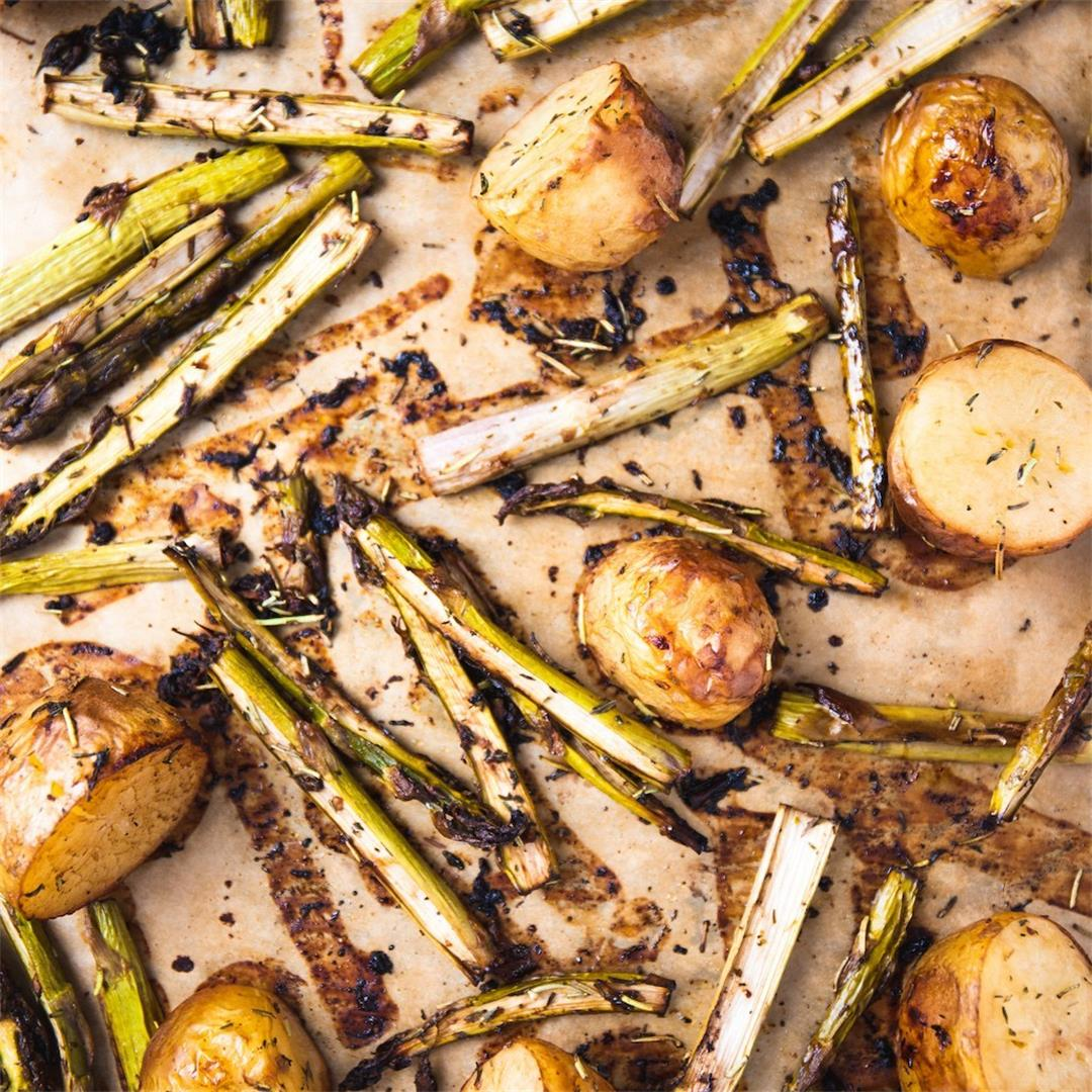 Balsamic Roasted Potatoes with Asparagus