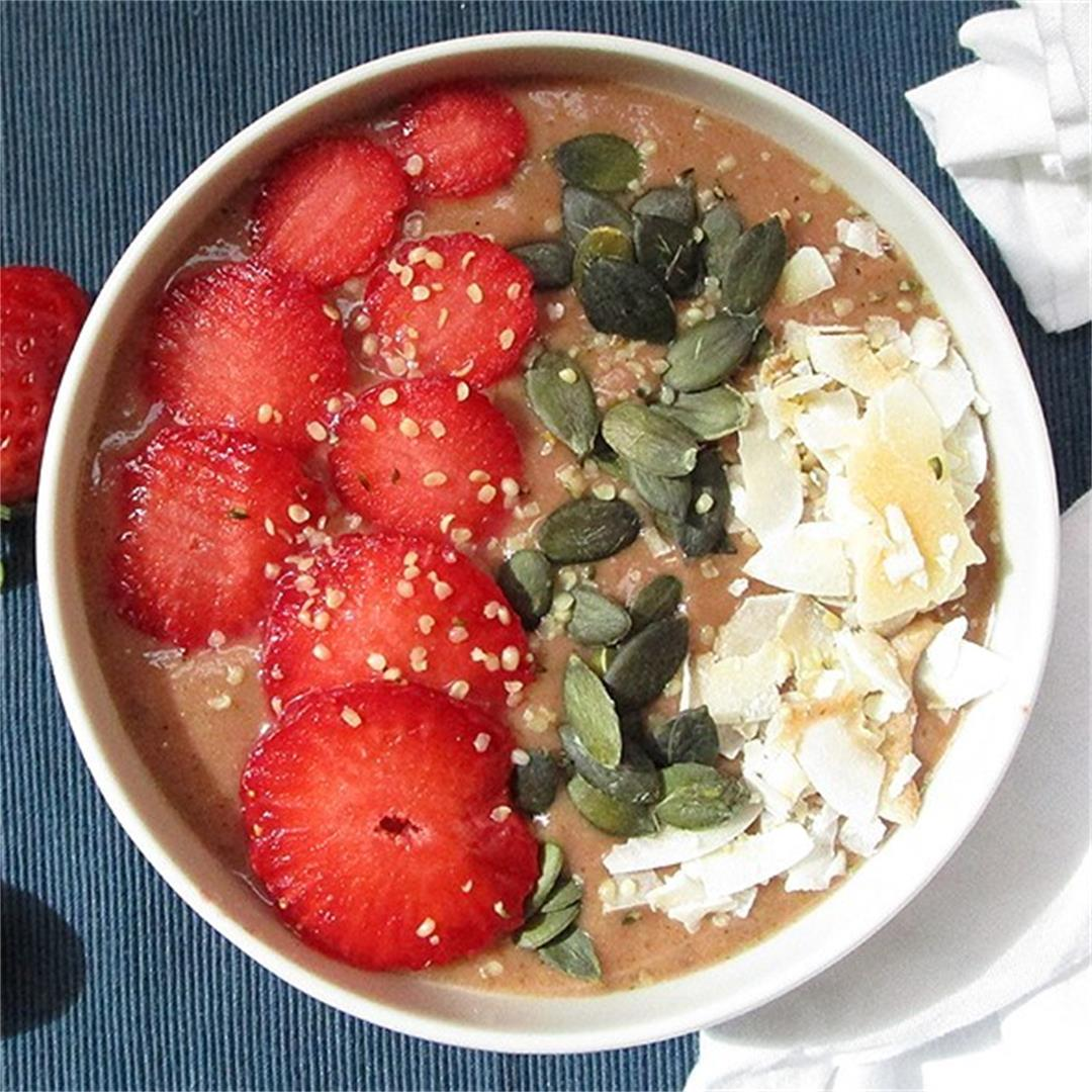 Cocoa Pineapple Strawberry Smoothie Bowl