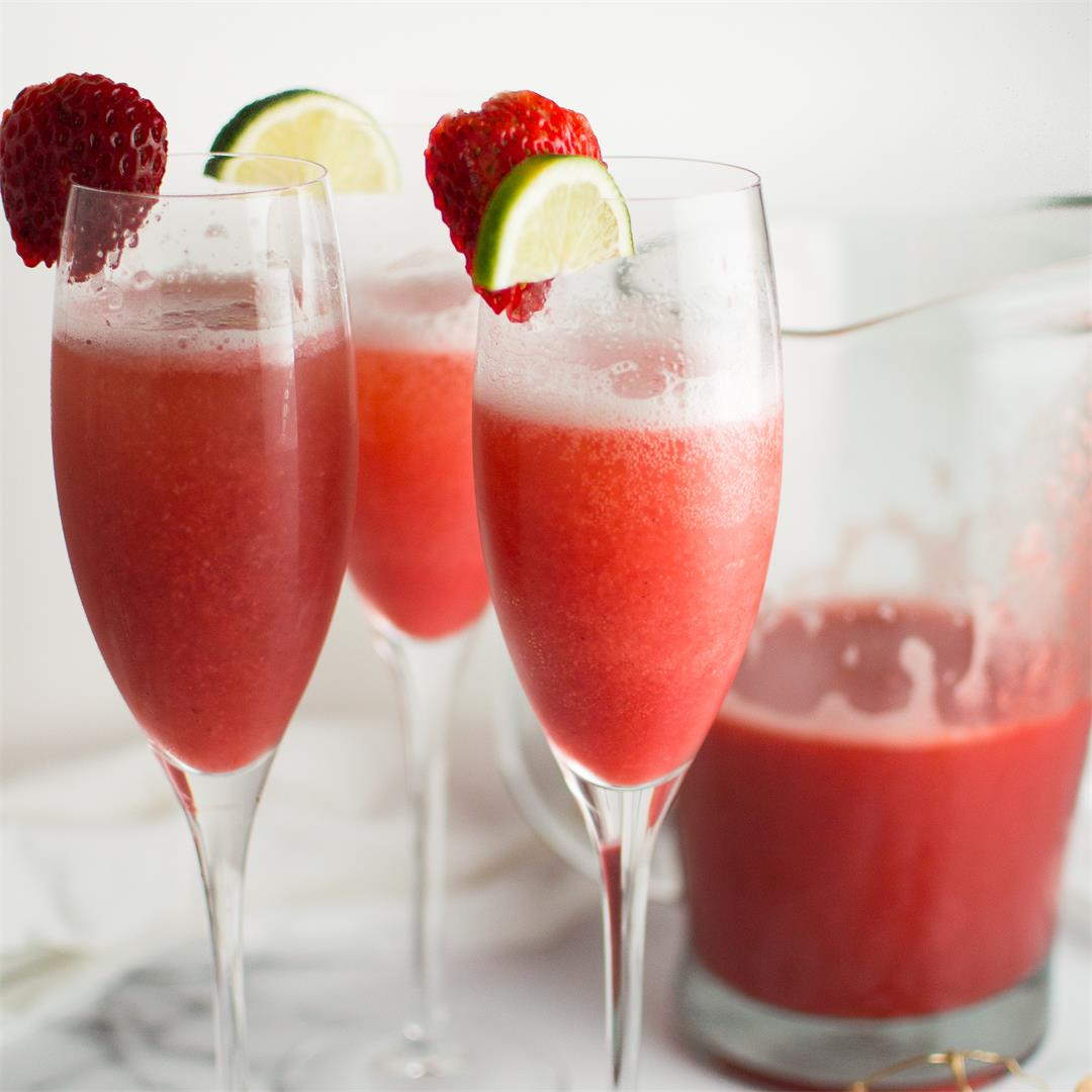 Strawberry Honey Lime Mimosas