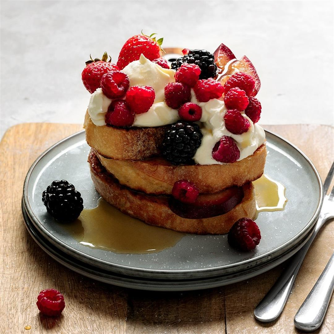 French Toast with Berries & Maple Syrup