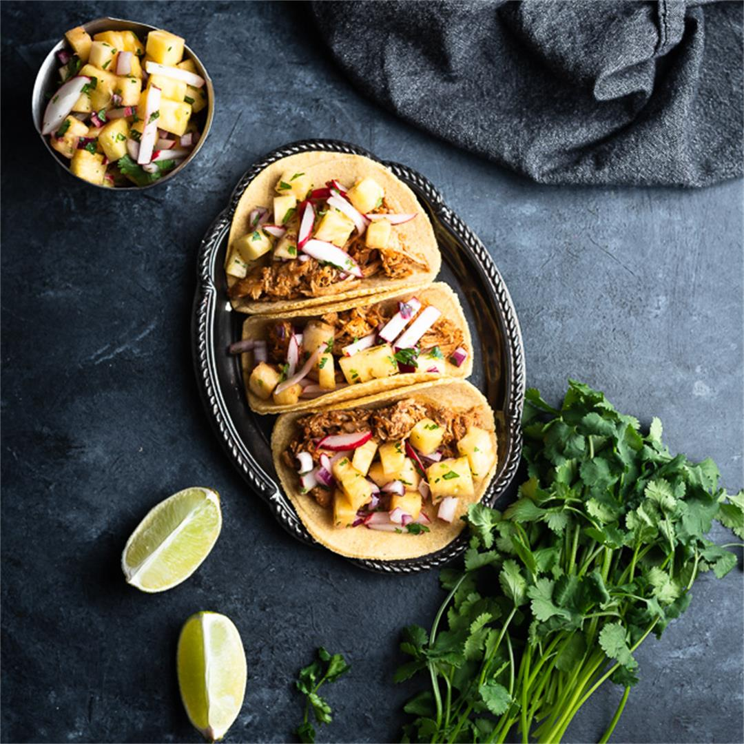 Pulled Pork Tacos with Pineapple Radish Salsa