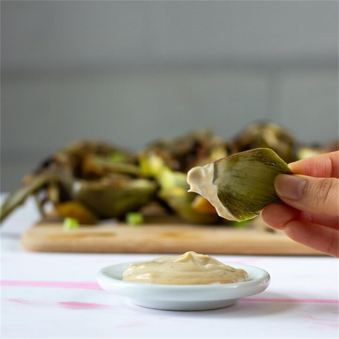Grilled Artichokes with Soy Garlic Mayo