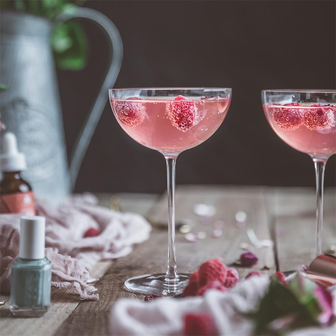Zero-Proof Cocktail: Raspberry Rose Hibiscus