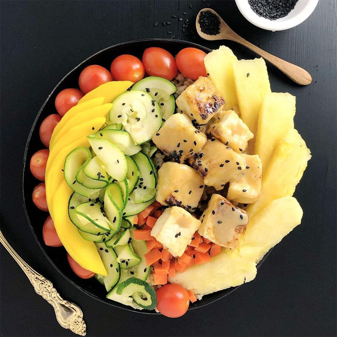Buddha Bowls with Pineapple Brown Butter Teriyaki Sauce