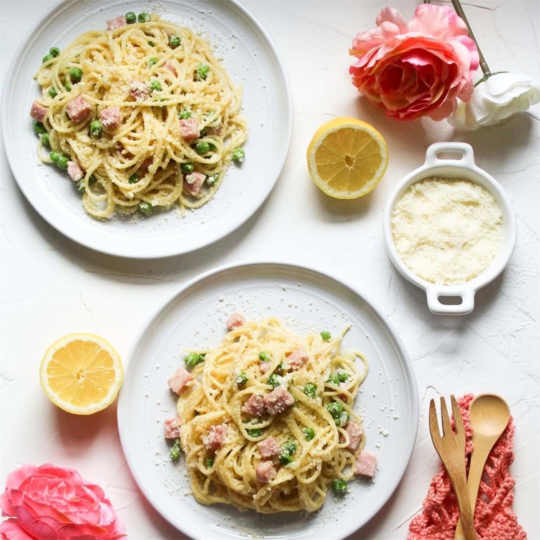 Ham and Peas Pasta • A Scrumptious Bite