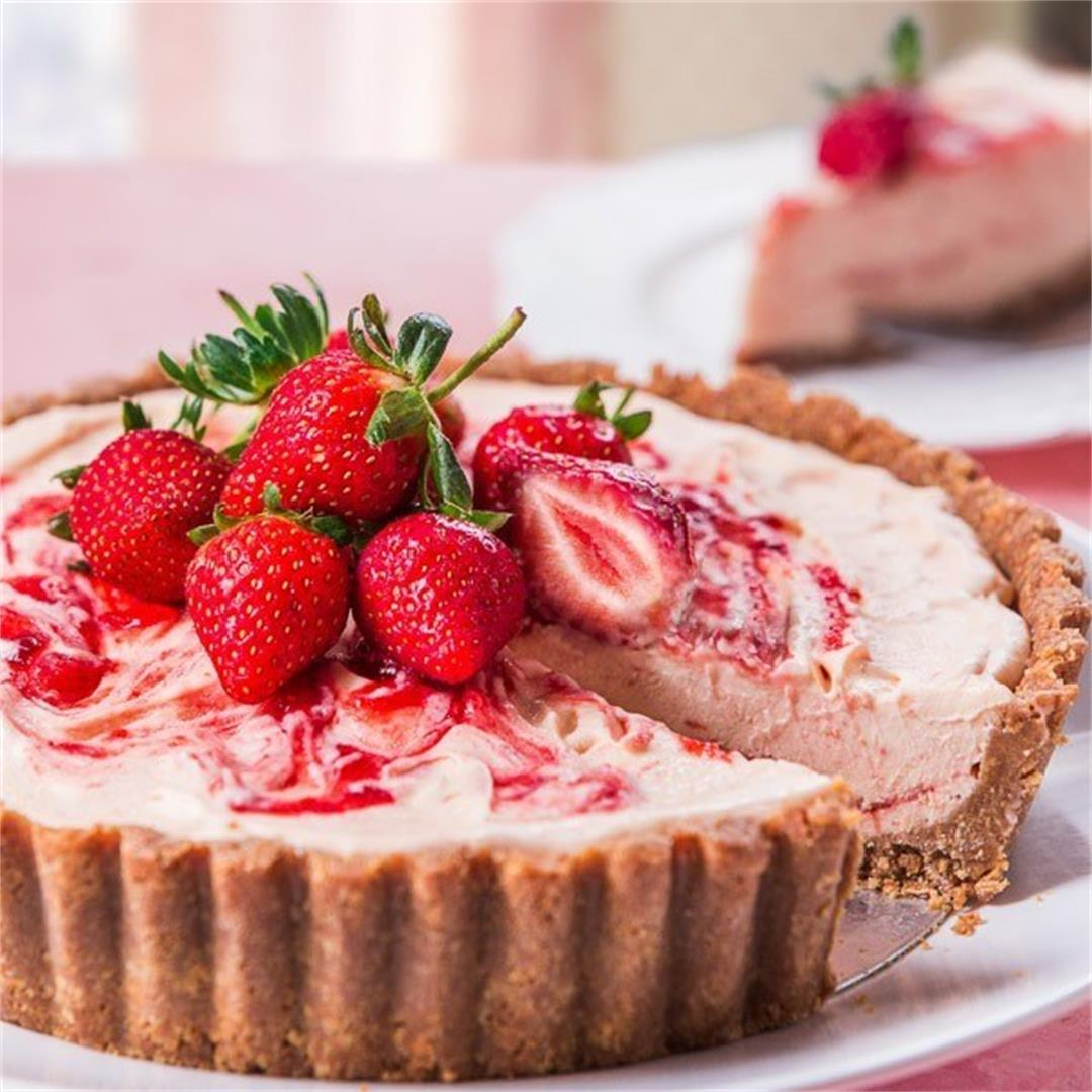 Strawberry Semifreddo with Marie Biscuit Crust