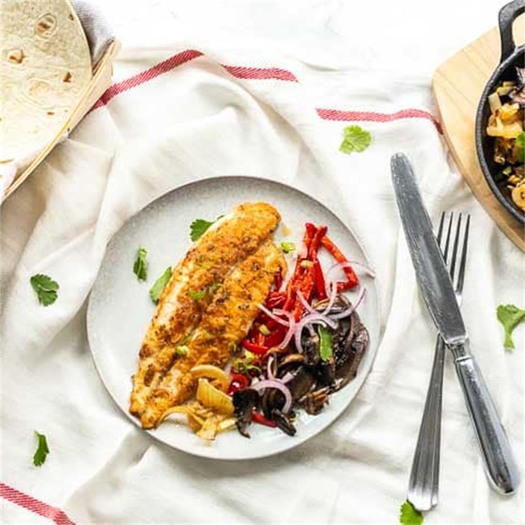 Fish fajitas with with panga filet