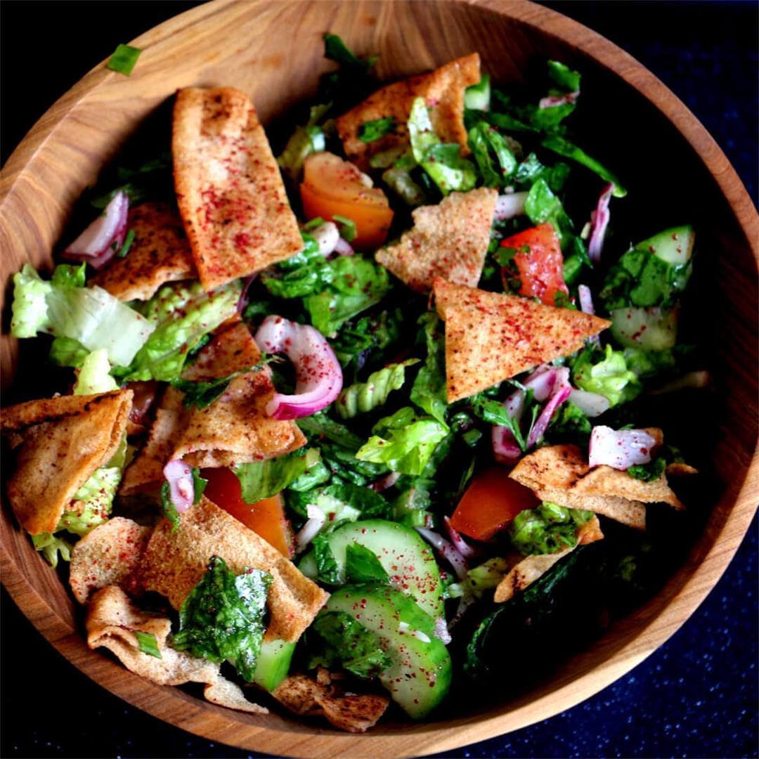 Fattoush-a vegan Lebanese salad