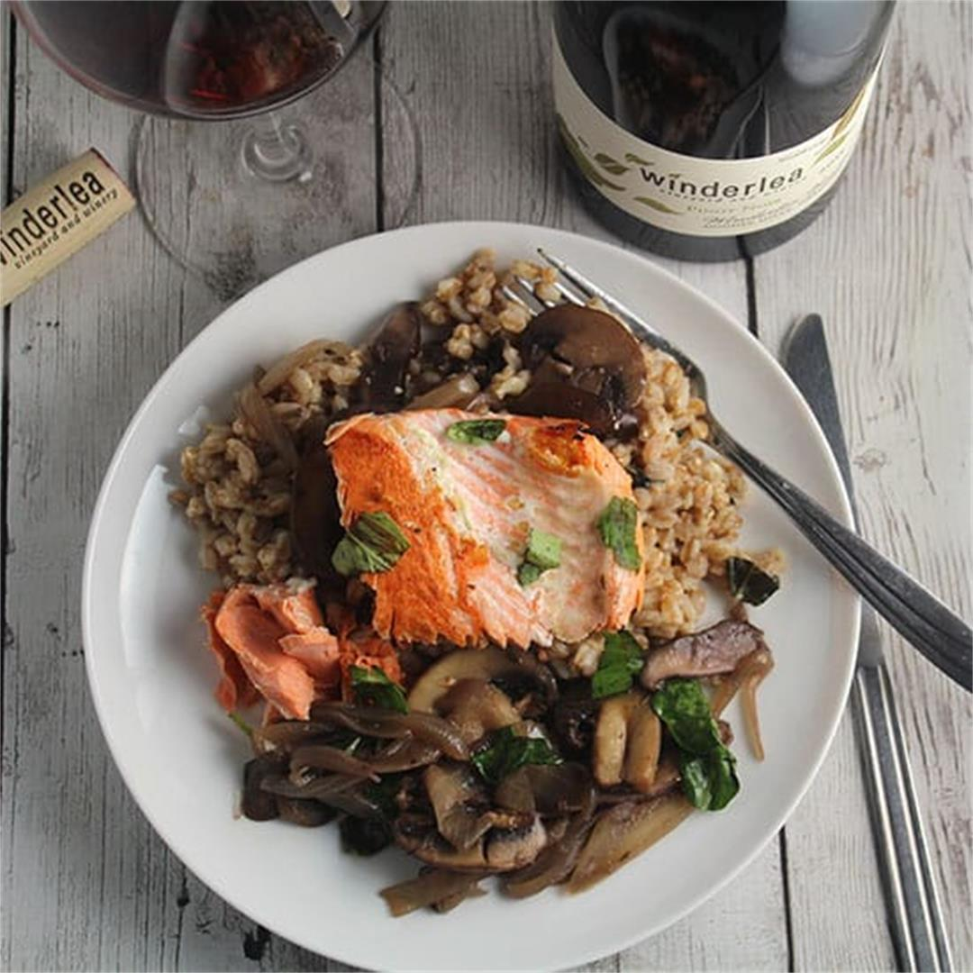 Salmon Farro and Mushrooms with Winderlea Pinot Noir #winePW