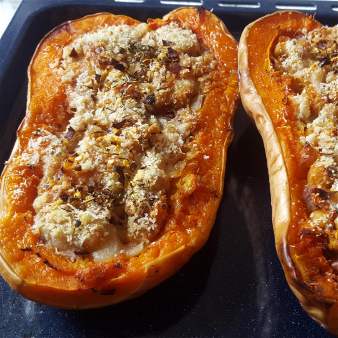 Vegan chickpea stuffed butternut squash