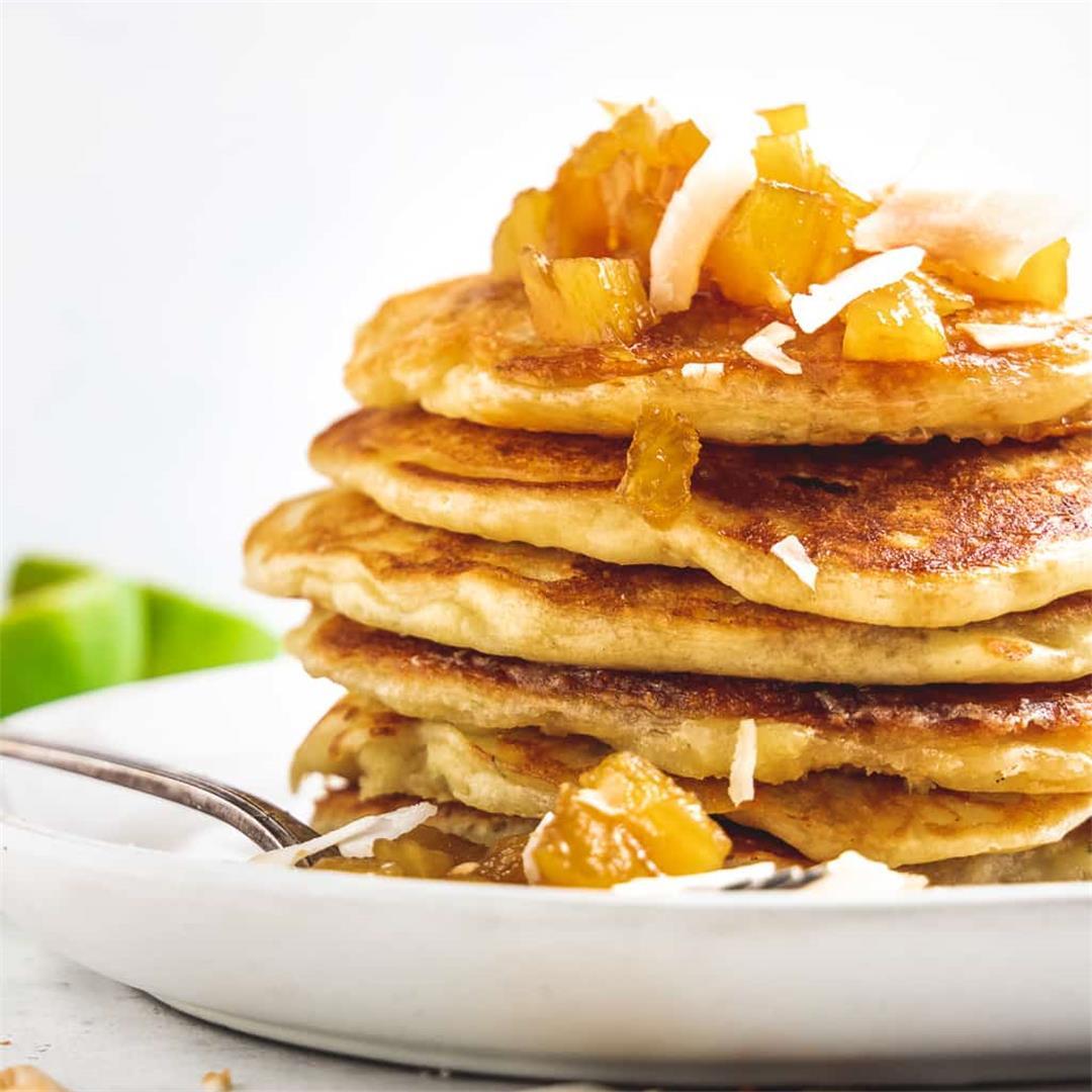 Pina Colada Pancakes with Pineapple Brown Sugar Syrup