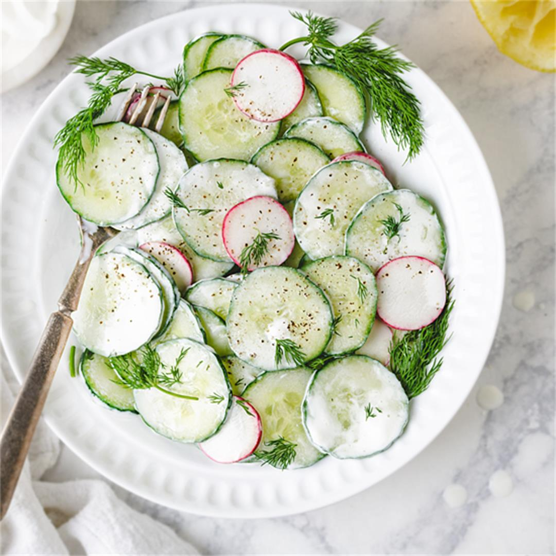 Polish Cucumber Salad with Sour Cream and Dill - Mizeria