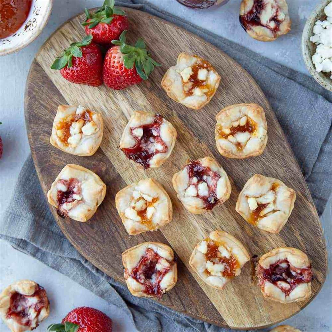 Puff Pastry Bites with Goat Cheese and Jam