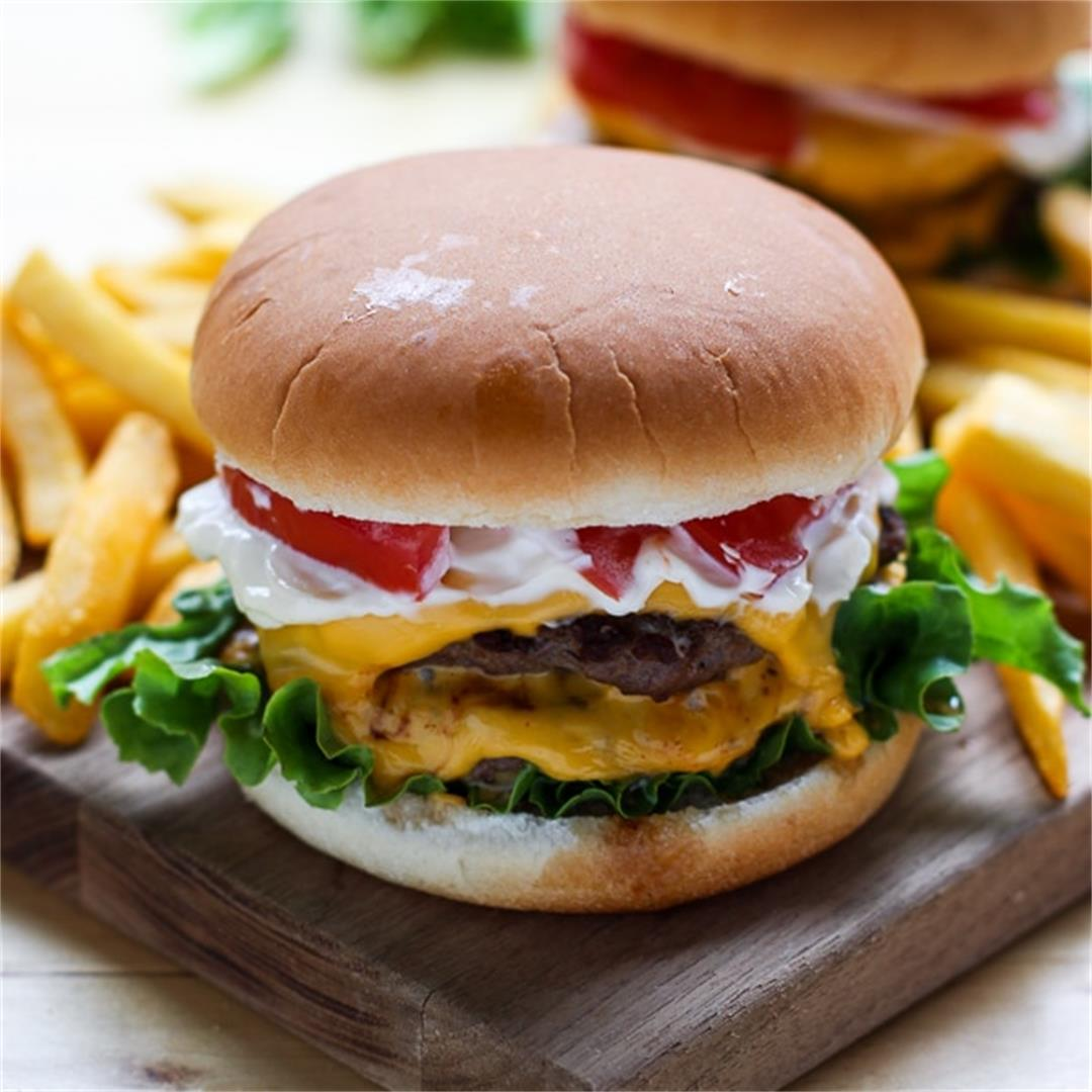The Ultimate Homemade Burger - perfect for Memorial Day!