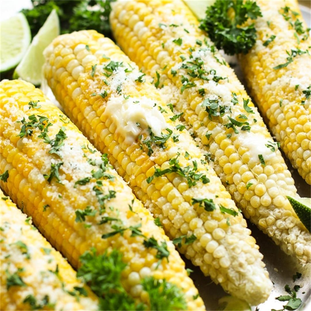 Oven Roasted Corn on the Cob with Parmesan Herb Butter
