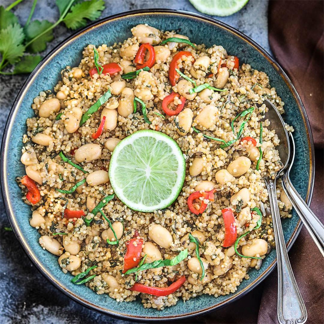 Instant Pot Coconut Quinoa And White Bean Salad