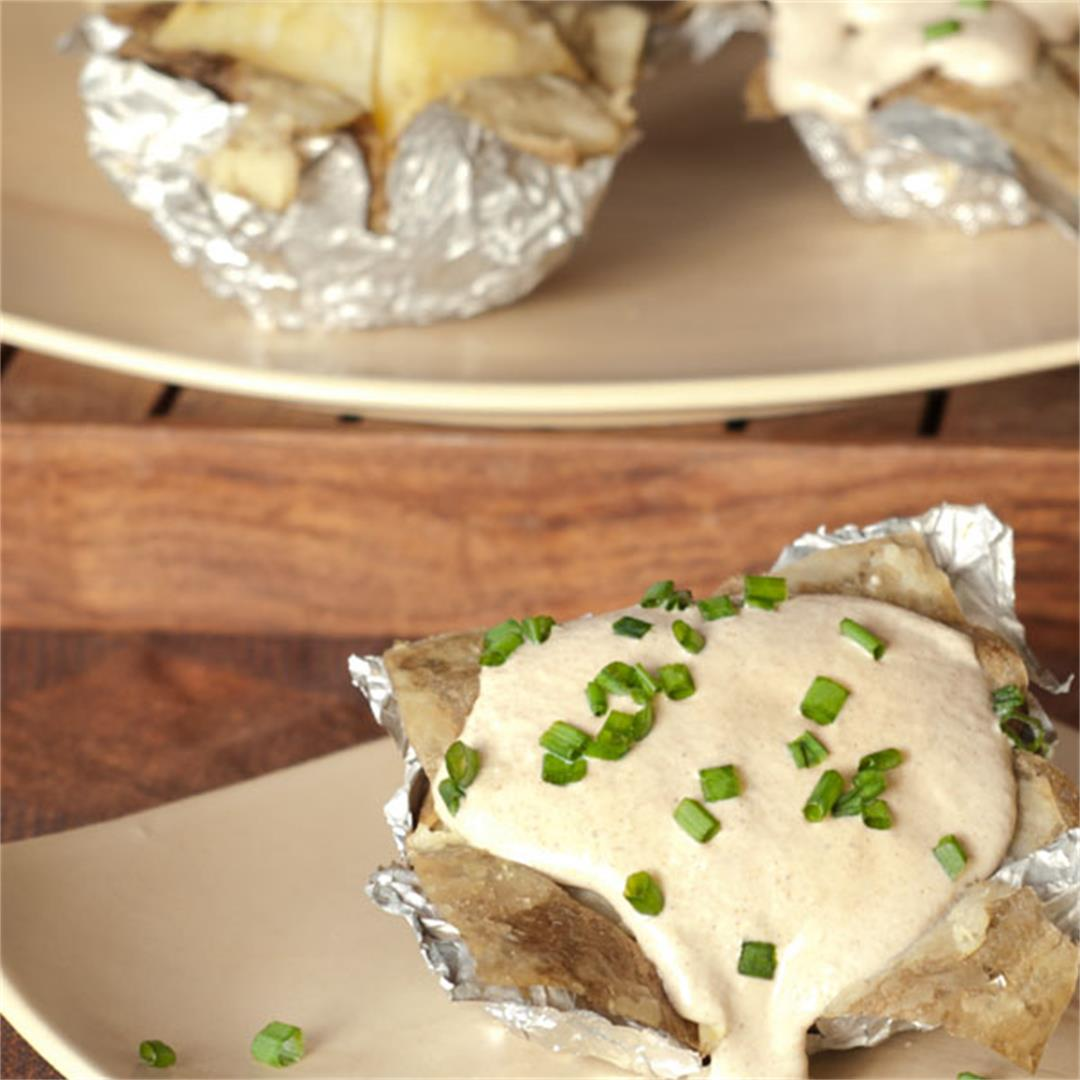Foil Wrapped Potato & Creamy Garlic Topping