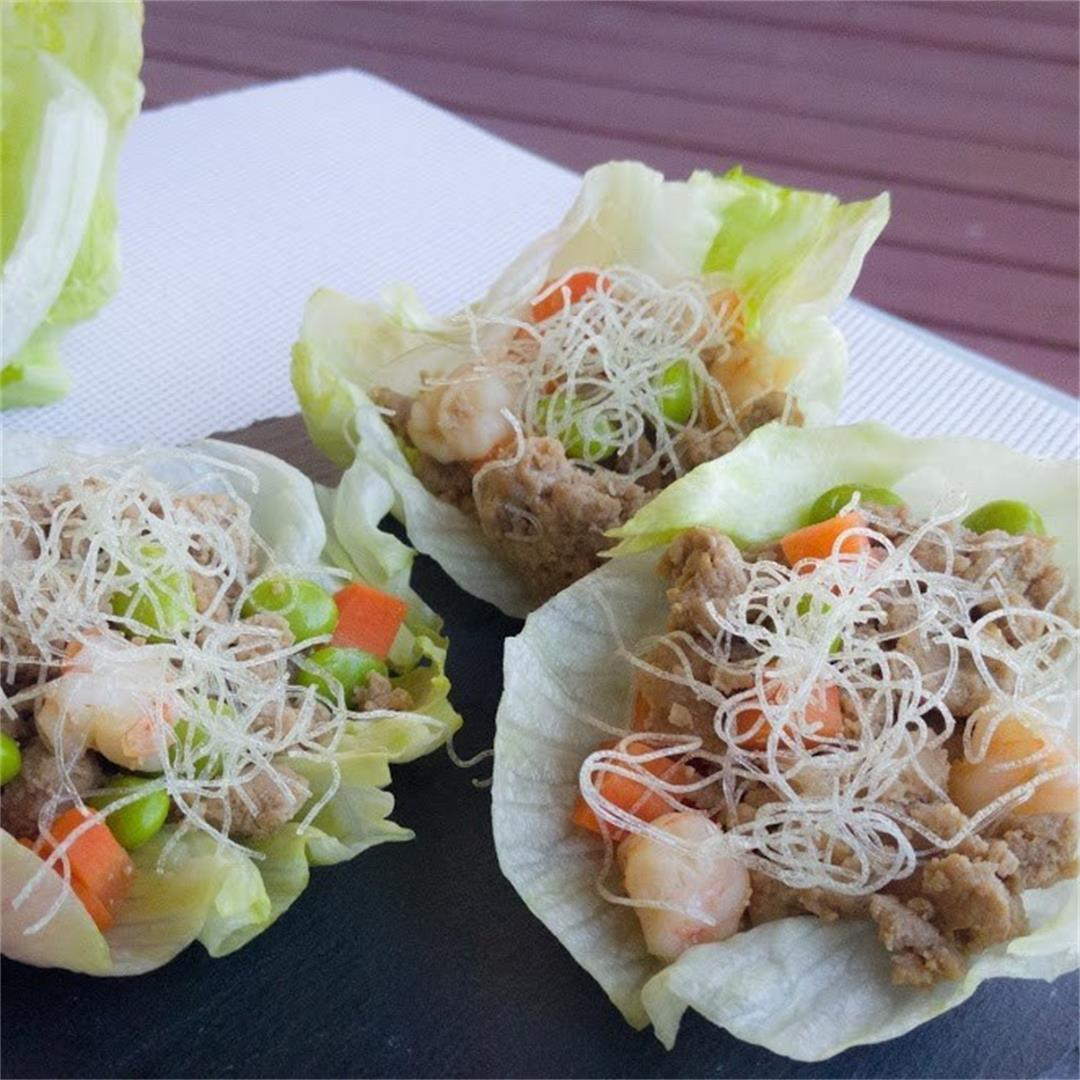 Lettuce Wrap with Crispy Rice Noodle Sticks