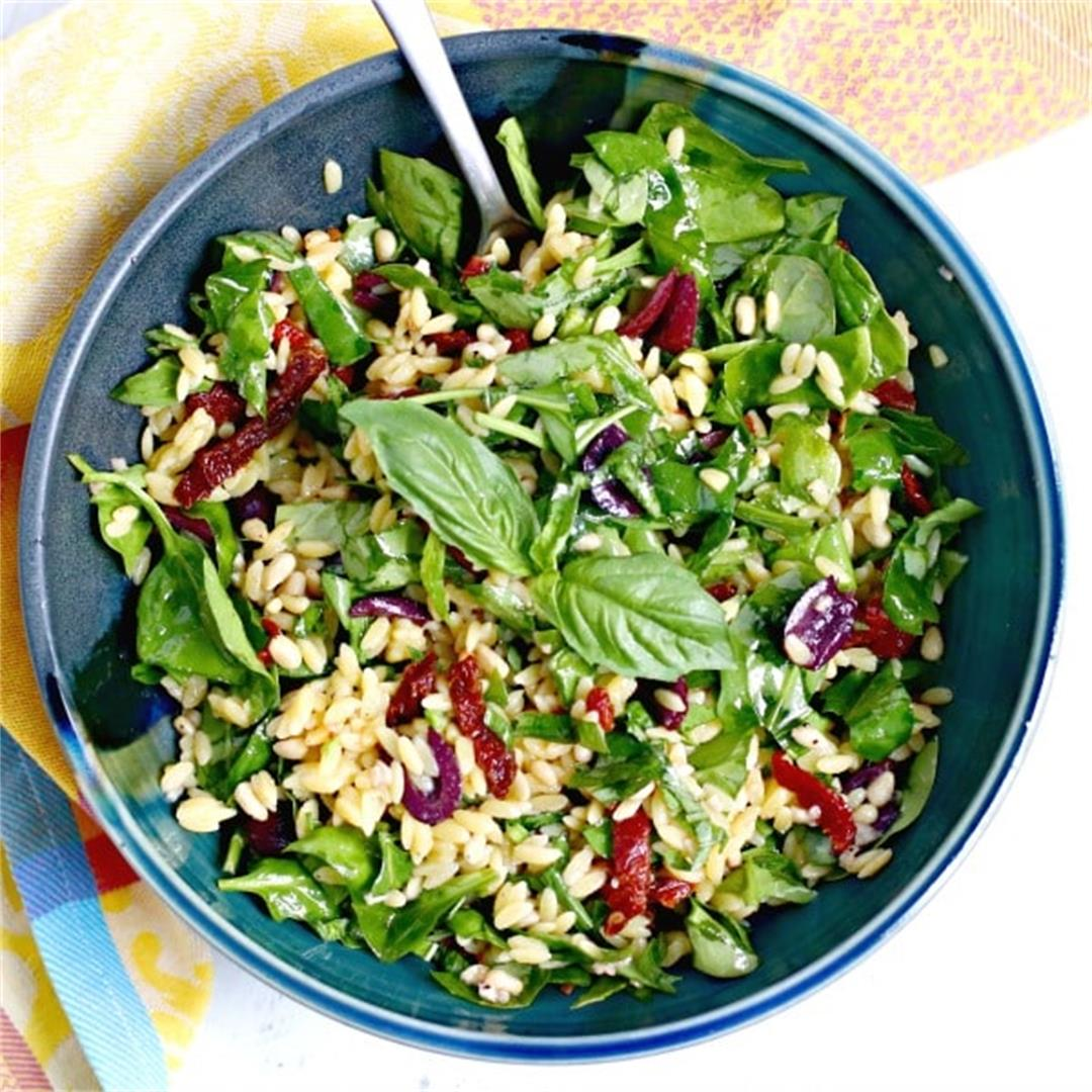 Spinach Orzo Salad (Vegan)