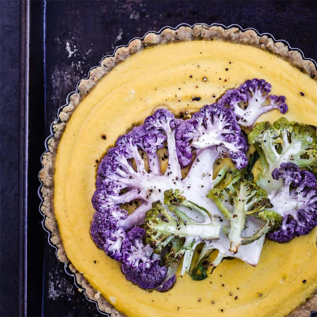 Cauliflower Tart with a Garlic & Herb Almond Crust
