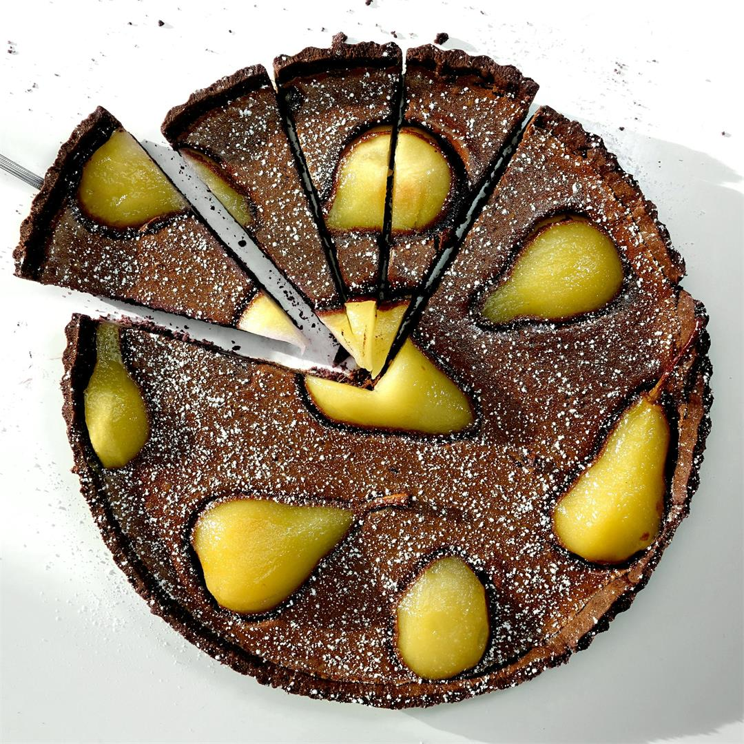 Poached Pear & Chocolate Custard Pie