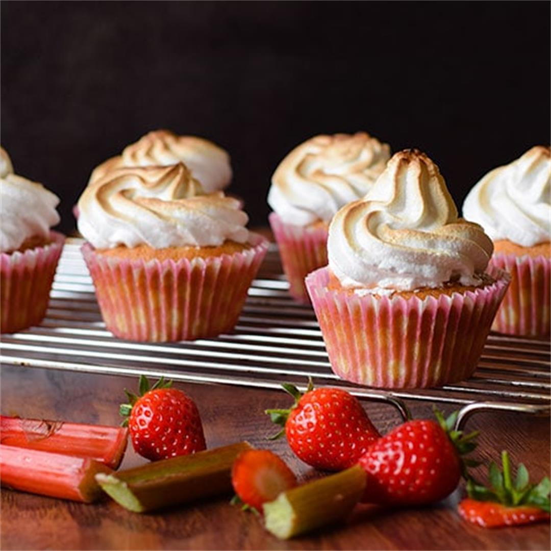 Rhubarb & Strawberry Meringue Cupcakes