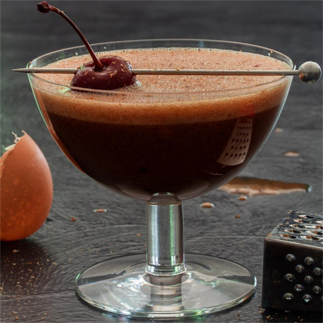 Pickled cherry chocolate sherry flip cocktail