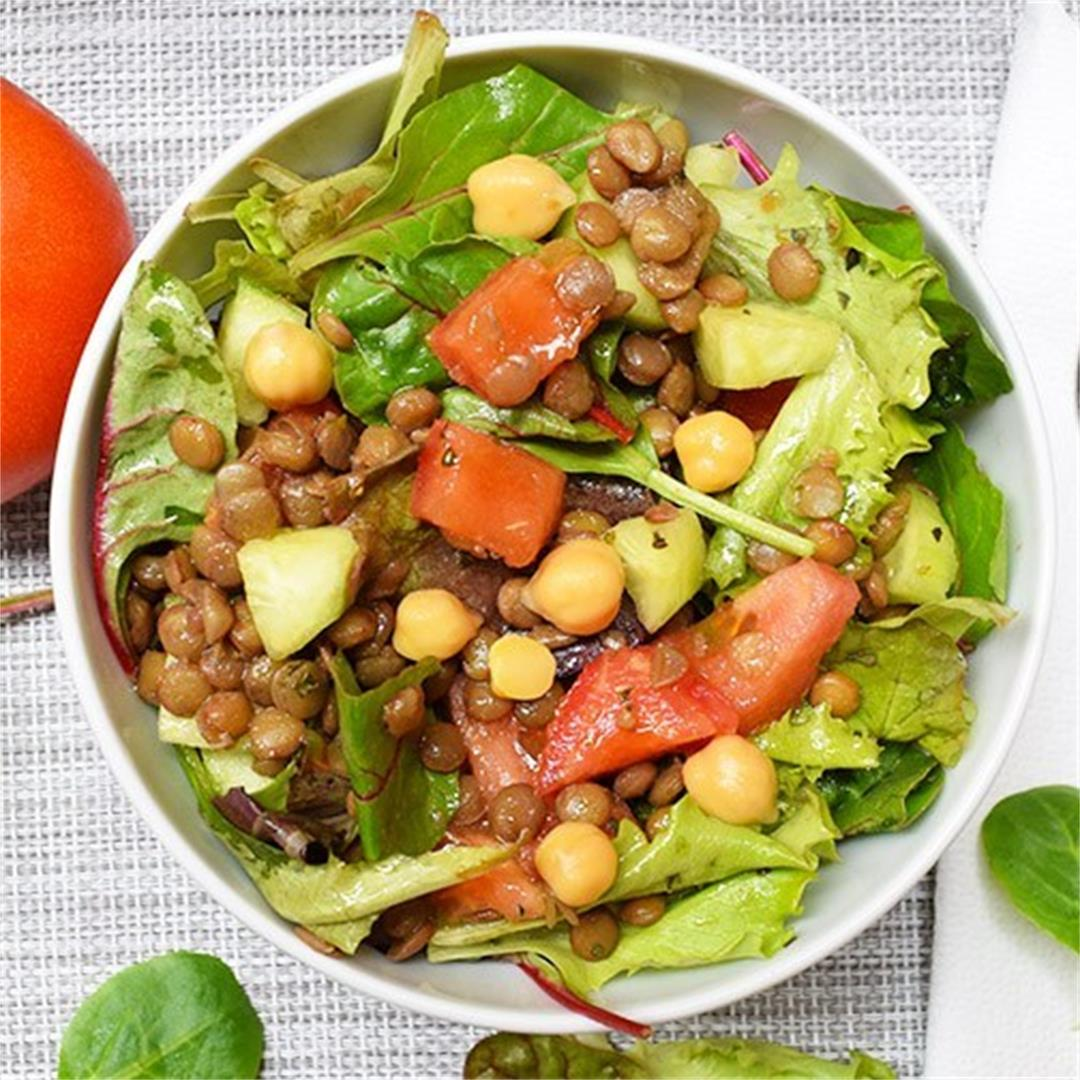 Vegan Lentil & Mixed Greens Salad Recipe
