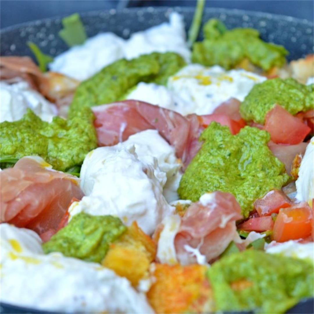 Truffle Burrata, Prosciutto & Fresh Pesto Salad Tasty Food for