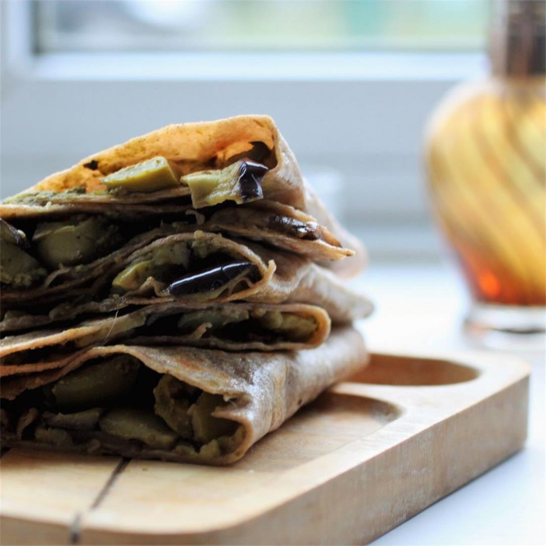 Aubergine & Pesto Vegan Wraps Recipe