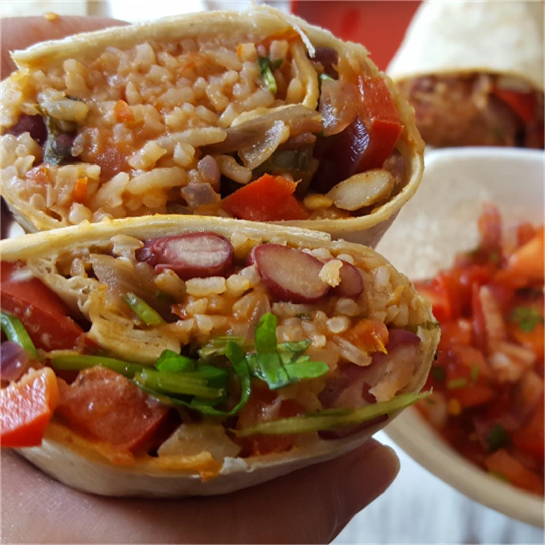 Vegan Burritos with bean rice & mushrooms