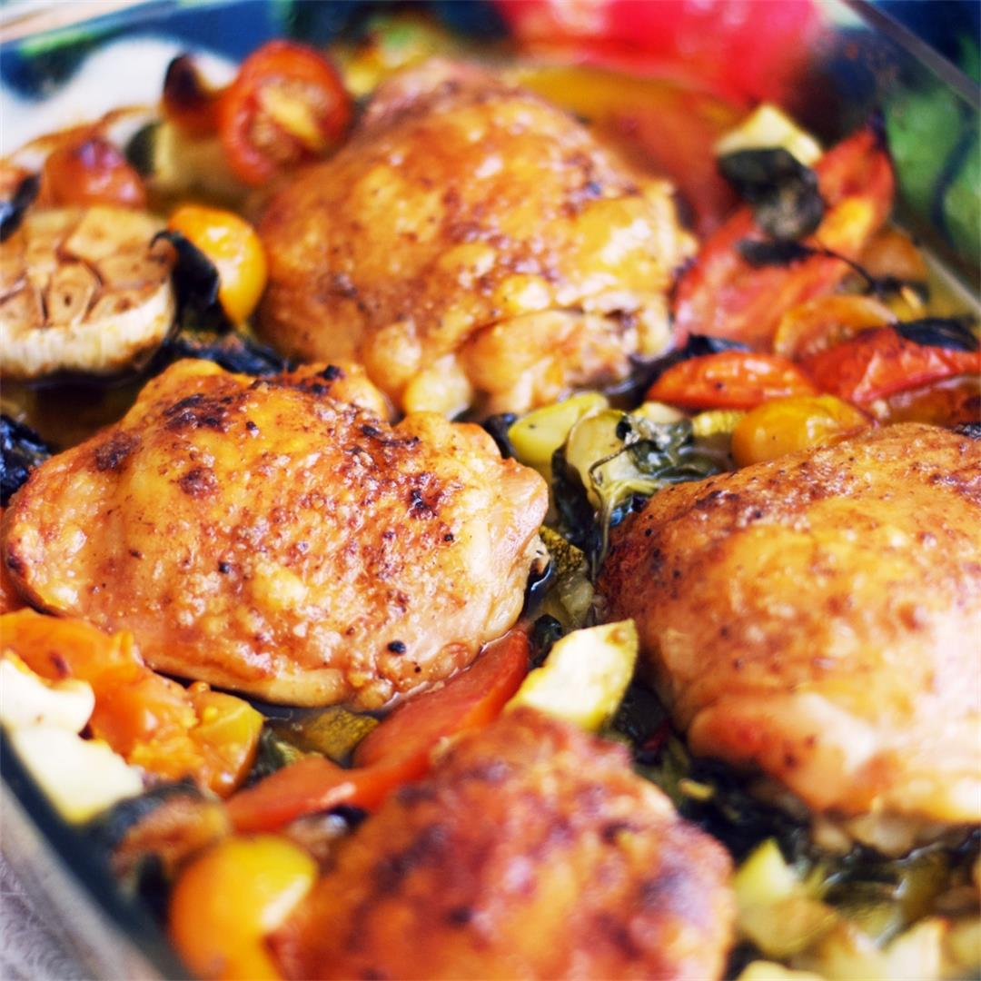 Roasted Chicken With Cherry Tomatoes And Zucchini