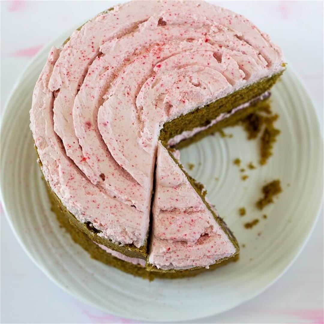 Matcha Cake with Raspberry Rose Cream