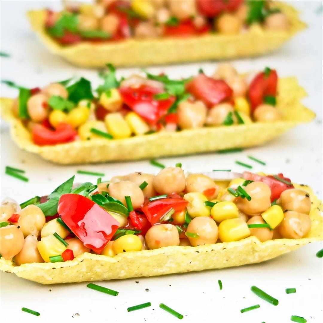 Mexican vegan chickpea taco bites with corn and tomatoes