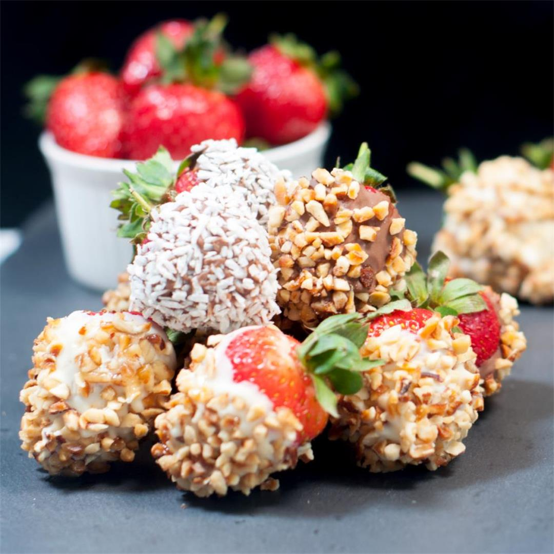 Hazelnut and Chocolate Smothered Strawberries