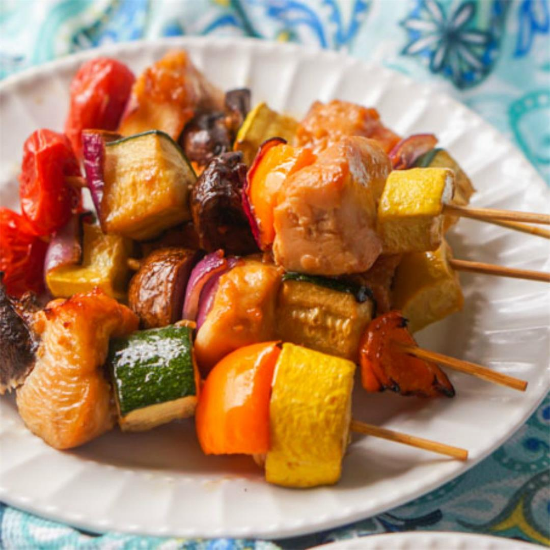 Easy Low Carb Asian Chicken Kebabs in the Air Fryer